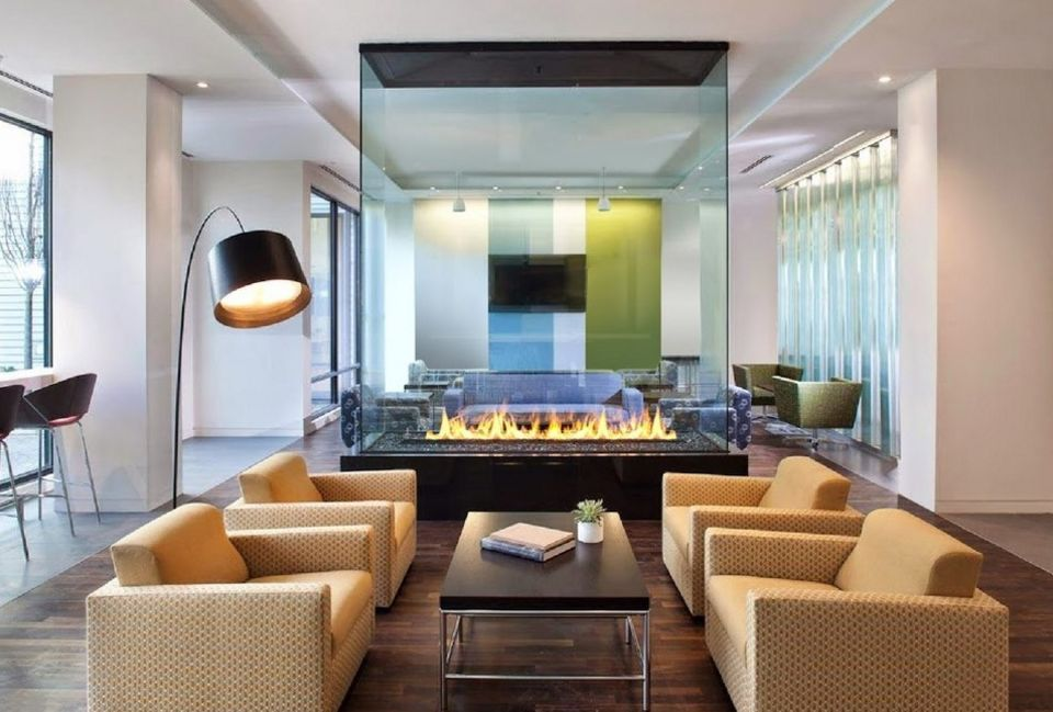 Beautiful and modern wall divider fireplace