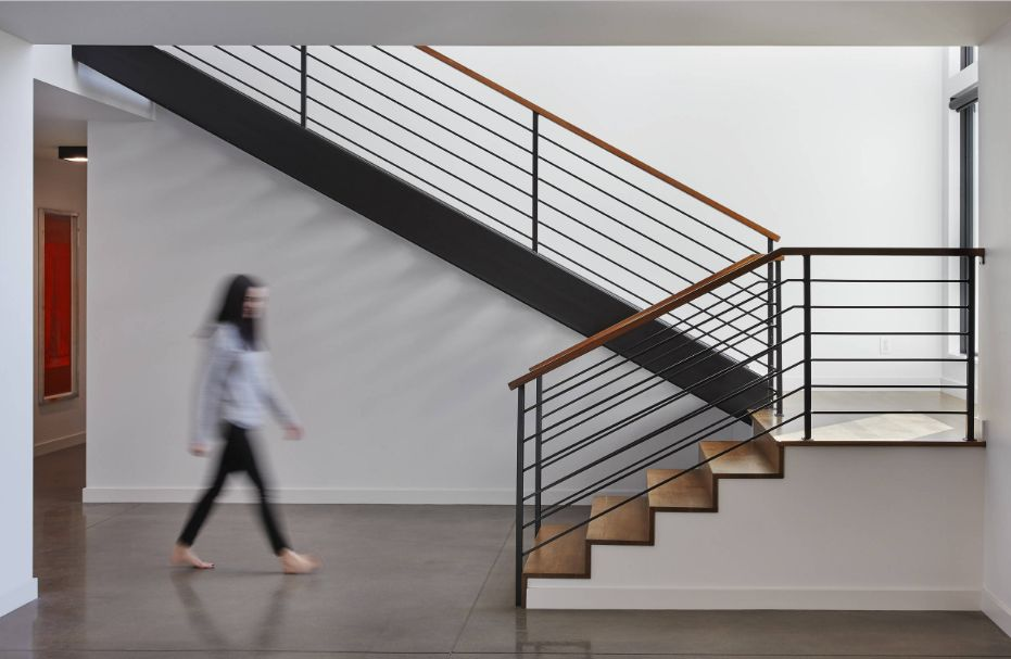 L-shaped stairs are attractive and take up less space.