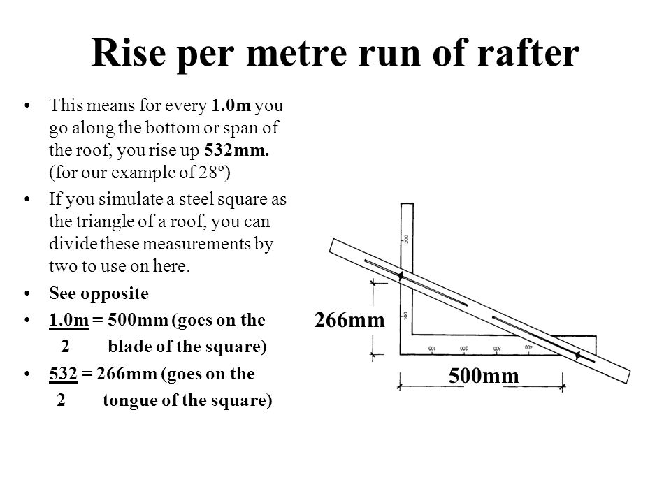 Rise per metre run of rafter This means for every 1.0m you go along the bottom or span of the roof, you rise up 532mm.